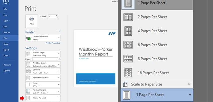 پرینت چند صفحه در یک صفحه