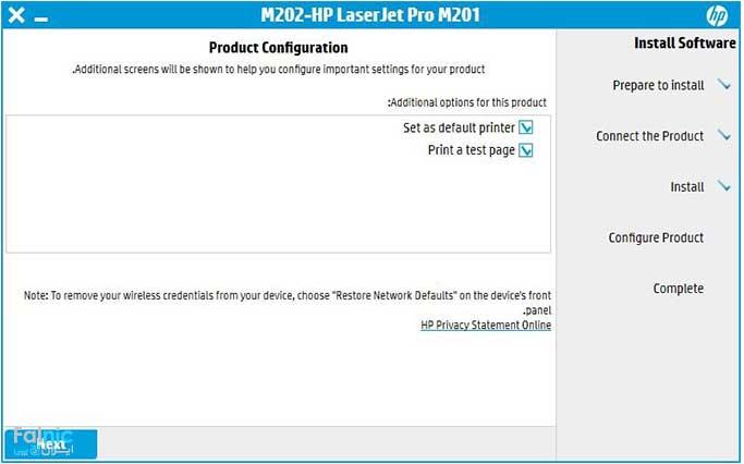 نصب پرینتر HP M201dw بصورت وایرلس