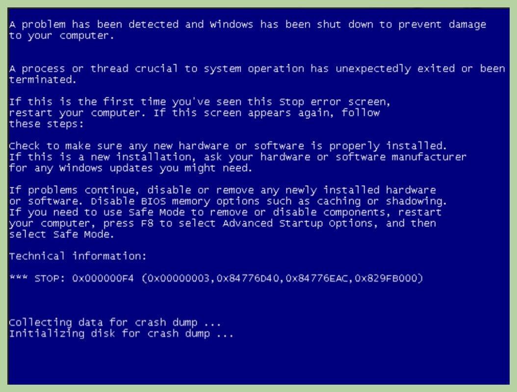 پیغام خطای هارد دیسک