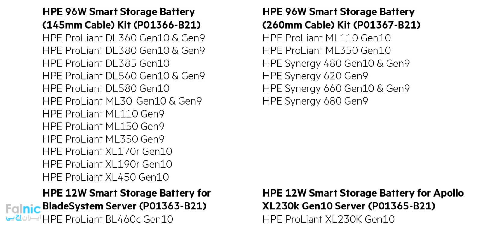 انواع باتری RIAD Controller سرور اچ پی