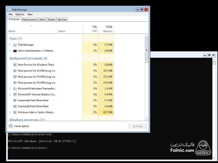 تفاوت ویندوز سرور core با gui
