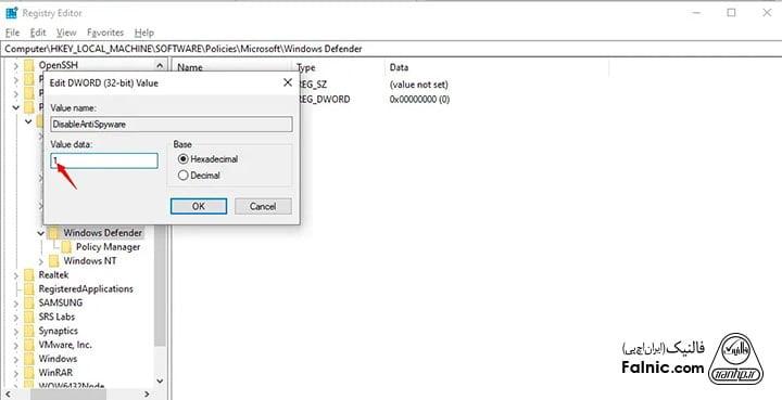 غیر فعال کردن windows security در ویندوز 10 با Registry