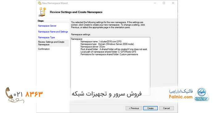 Review settings and create namespace