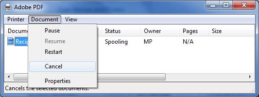 پاک کردن یک برنامه از صف چاپ