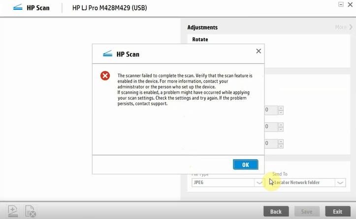 ارور اسکن نگرفتن پرینتر HP M428