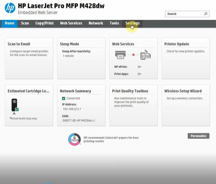 گزینه setting برنامه HP Printer Assistant