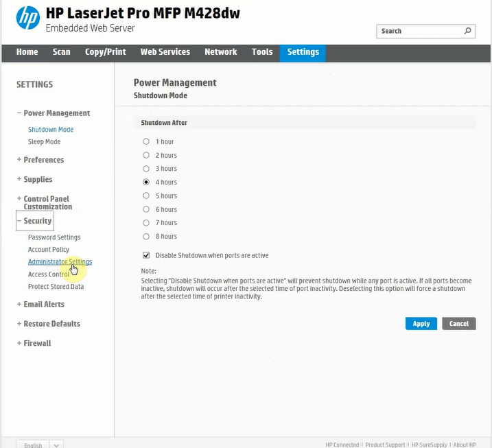 منوی Security برنامه HP Printer Assistant
